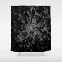 budapest hotel Shower Curtains featuring Budapest by Line Line Lines