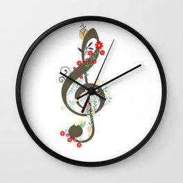 Floral sol key Wall Clock