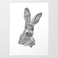 hare Art Prints featuring Hare by Eirik Walland Larsen