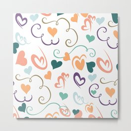 Abstract Coral Purple Green Geometric Hearts Metal Print