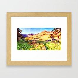 Bench at Buttermere, Lake District, Cumbria, UK Framed Art Print