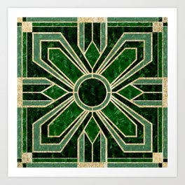 Art Deco Floral Tiles in Emerald Green and Faux Gold Art Print