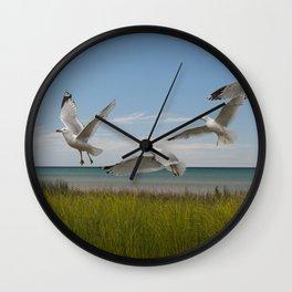 Gulls by a Lake Michigan Shore Wall Clock