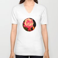 rare V-neck T-shirts featuring Rare Rose  by Ambers Vintage Find
