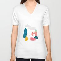 rocky V-neck T-shirts featuring Rocky Road by Brigitte Huynh