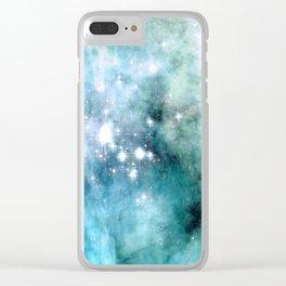 nEbulA Aqua Teal Sparkle Clear iPhone Case