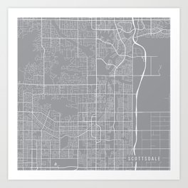 Scottsdale Map, Arizona USA - Pewter Art Print