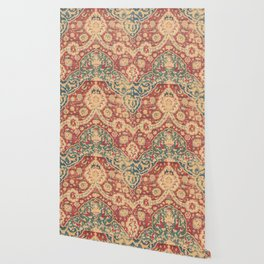 Peonies Kashan I // 16th Century Distressed Colorful Red Tan Light Blue Ornate Accent Rug Pattern Wallpaper
