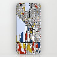 seattle iPhone & iPod Skins featuring Seattle by Mondrian Maps
