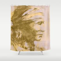 native american Shower Curtains featuring Native American Indian by Alison Fennell