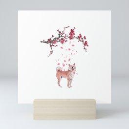 Shiba Inu Dog Cherry Blossom Art Gift T-Shirt Mini Art Print