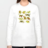 kitchen Long Sleeve T-shirts featuring Kitchen Cats by Marlene Pixley