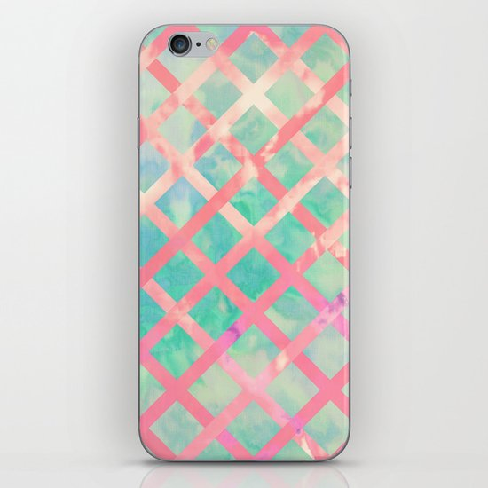 X Criss-Cross | Girly Retro Turquoise Pink Watercolor Lattice iPhone & iPod Skin