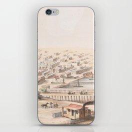 Vintage Pictorial Map of Galveston TX (1855) iPhone Skin
