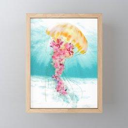 Jellyfish with Flowers Framed Mini Art Print