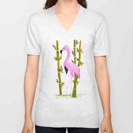 Flamingo in Bamboo Unisex V-Neck