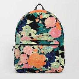 Girly Pink Blue & Orange Floral paint black design Backpack
