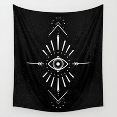 Evil Eye Monochrome Wall Tapestry