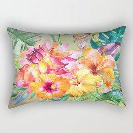 Tropical Hibiscus Garden Rectangular Pillow