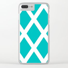 Turquoise Diamonds Clear iPhone Case