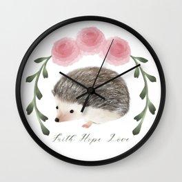 Faith, Hope, and Love Hedgehog Wall Clock