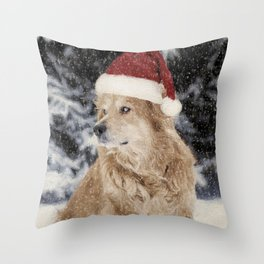 A Golden Christmas Throw Pillow