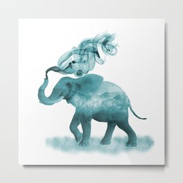 Turquoise Smoky Clouded Elephant Metal Print
