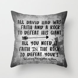 The Lord is my Rock Quote with Scripture Throw Pillow