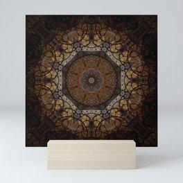 Rich Brown and Gold Textured Mandala Art Mini Art Print