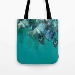 DREAMY FEATHERS & LEAVES - Deep Cyan Tote Bag