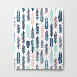 Feathers geometric trendy gender neutral colors modern feather and arrows pattern print dorm college Metal Print