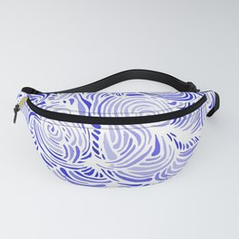 Blue and White Abstract Pattern Fanny Pack