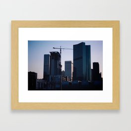 Denver Skyline Dusk Framed Art Print