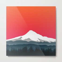 Mount Hood Winter Forest - Sunset Metal Print