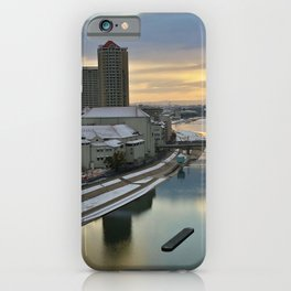 Japan city in sunrise photography iPhone Case