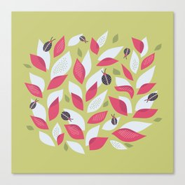 Pretty Plant With White Pink Leaves And Ladybugs Canvas Print
