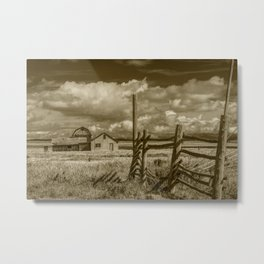 Sepia Tone of Grand Teton Moulton Farm with Wood Fence Metal Print