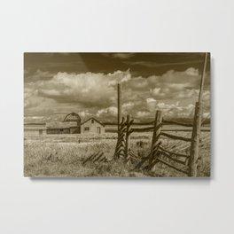 Sepia Tone of Grand Teton Moulton Farm with Wood Fence Metal Print