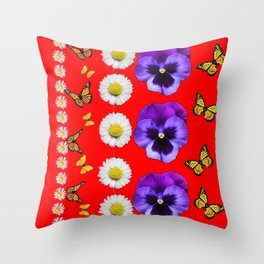 PURPLE PANSIES, WHITE DAISIES, MONARCH BUTTERFLIES RED ART Throw Pillow