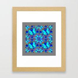 Abstract Decorative Aqua Blue Butterflies On Charcoal Grey Art Framed Art Print