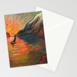 'Romantic Alpine Sunset' Landscape Painting by Marianne Von Werefkin Stationery Cards