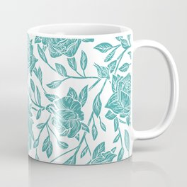 Modern vintage mint blue white elegant floral Coffee Mug