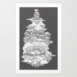 Mushies on the rise Art Print