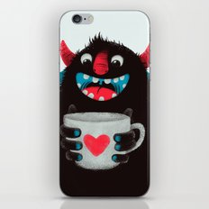 Demon with a cup of coffee (contrast) iPhone & iPod Skin