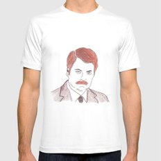 Ron Swanson  White Mens Fitted Tee SMALL