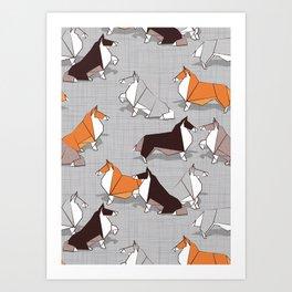 Origami Collie doggie friends Art Print