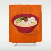 ramen Shower Curtains featuring Ramen (Akamaru Chashu) by Hello Fever