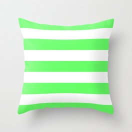 Screamin' Green - solid color - white stripes pattern Throw Pillow