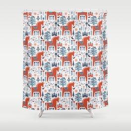 Scandinavian Inspired Folkstory - Red + Blue Shower Curtain