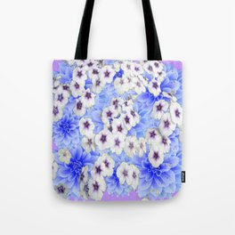 WHITE   FLORALS WITH BLUE FLOWERS Tote Bag
